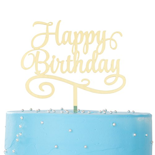LOVENJOY with Gift Box Happy Birthday Cake Topper Mirror Gold (4.3 inches)