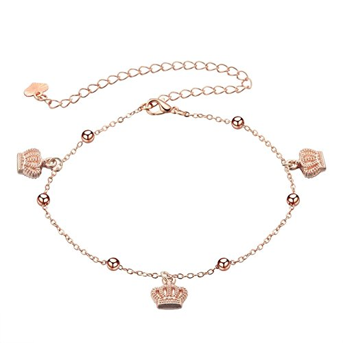 Bishilin Gold Plated Boho Ladies Anklets Crown Pendant Foot Chain Rose Gold Ankle Chain by Bishilin