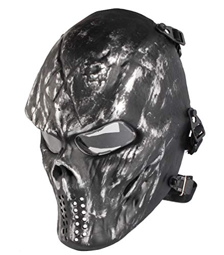 Airsoft Skull Masks Full Face - Tactical Mask Eye Protection for CS Survival Games BBS Shooting Masquerade Halloween Cosplay Movie Props Zombie Scary Skeleton Masks Silvergrey Clearlens -