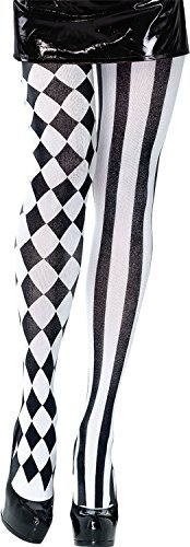 Ladies Black White Harlequin Stripes Chequered Clown Circus