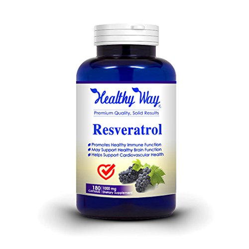 100% Pure Resveratrol - 1000mg Max Strength 180 Capsules Natural Trans Resveratrol Antioxidant Supplement Pills for Weight Loss & Heart Health - Trans Resveratrol for Anti Aging