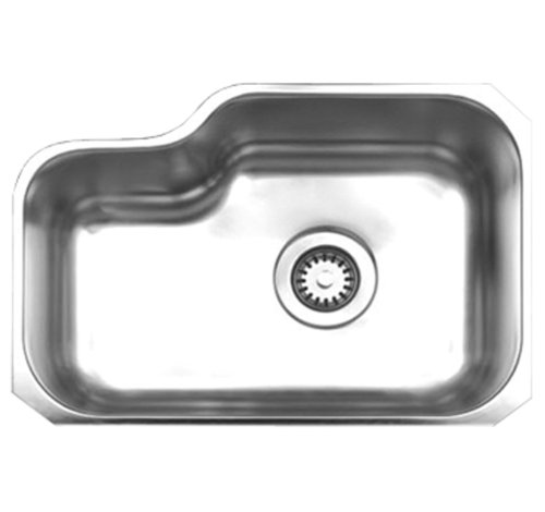 (Whitehaus WHNU1913-BSS Noah's Collection 21 7/8-Inch Single Bowl Undermount Sink, Brushed Stainless Steel)