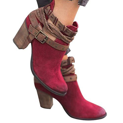con Autunno Alti Tacco Stivaletti Sexy Tacchi Tacco Moda Rosso Donna Blocco Elegante Minetom Stivali Casual Invernali Boots Stivali qxOtIppU