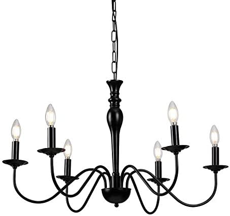 Riomasee Rustic Farmhouse Chandelier 6-Lights Black Chandelier Metal Candle Chandelier Light Fixture
