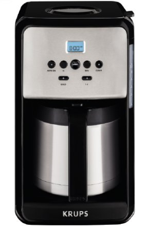KRUPS ET351 SAVOY Programmable Thermal Stainless Steel Filter Coffee Maker Machine with Bold and 1-4 Cup Function, 12-Cup, Black