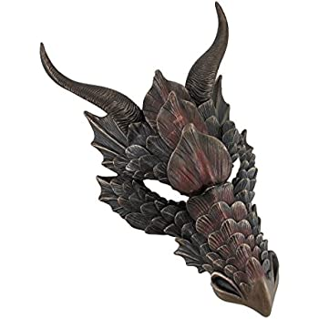 Resin Wall Sculptures Metallic Bronze Finish Dragon Head Wall Mask Medieval Decor 8.5 X 12 X 5.5 Inches Bronze