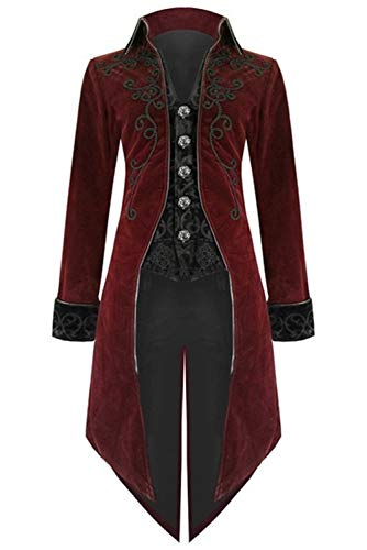 Steampunk Jacket Mens (Mens Steampunk Victorian Coat Tailcoat Jacket Halloween Long Gothic Vintage)