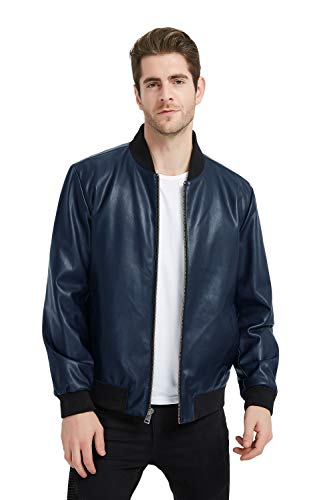- PANAPA Men's Smooth Touch Faux Leather Bomber Jacket with Zip Closure Navy
