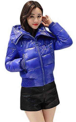 Manica Betrothales Anteriori Cappotto Tasche Mantello Cappuccio Addensare Invernali Moda Monocromo Blau Collo Donna Lunga Piumini Con Caldo Alto Corto Giubotto vb7f6gYy