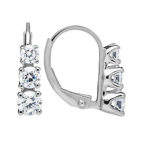 (14K Solid White Gold Earrings | Round Cut Leverback 3-Stone