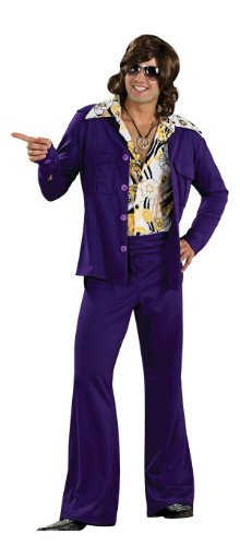 Rubie's 60's Revolution Men's Leisure Suit, Purple, One Size Costume