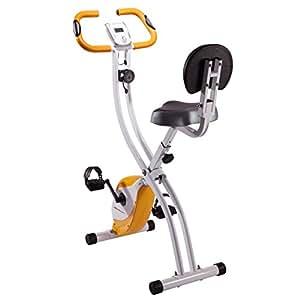 Ultrasport F-Bike 200B - Bicicleta estática con sensores de pulso de mano plegable, con respaldo, color blanco / naranja