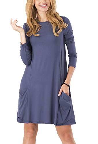 Kleider T Rundhal A Kleid Königsblau Mini Line Swing Lose Bequem Frühling Große Shirt Größen Casual Damen Pullover Minetom Langarm