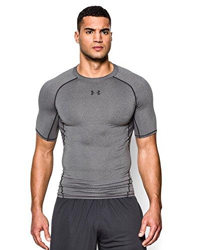 Under Armour Men's HeatGear Armour Short Sleeve Compression Shirt, Carbon Heather (090), Medium