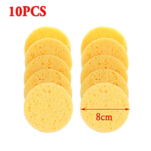 Thansky Soft Cleanup Cellulose Sponge Compress Puff Natural Wood Pulp Cleansing Pad 1pack/10pcs(3) (10 Cellulose Facial Sponges)
