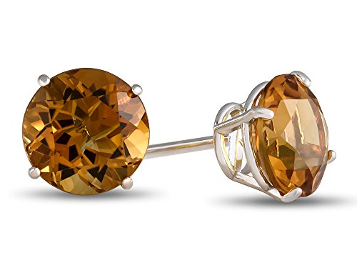 7x7mm Round Citrine Post-With-Friction-Back Stud Earrings 10 kt White Gold