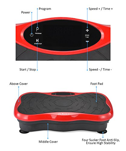 iDeer Vibration Platform Fitness Vibration Plates,Whole Body Vibration Exercise Machine w/Remote Control &Bands,Anti-Slip Fit Massage Workout Vibration Trainer Max User Weight 330lbs (Red09003) by IDEER LIFE (Image #3)