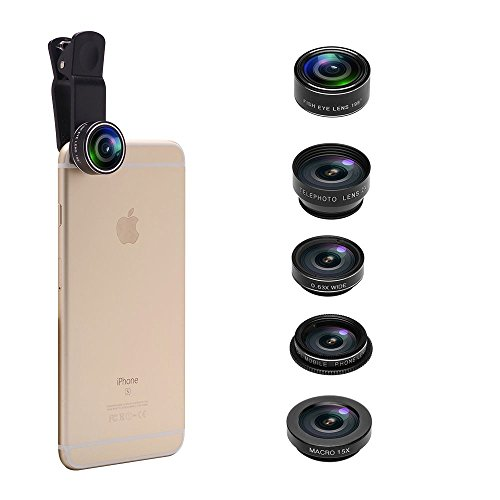 5 in 1 Phone Camera Lens Kit, 2X Optical Zoom Telephoto Lens & 198