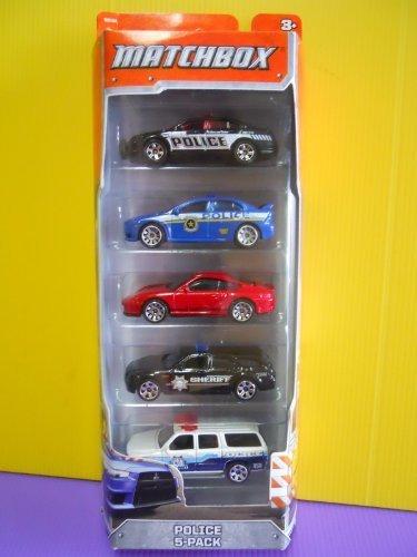 2012 Matchbox Police 5-Pack Ford Police Interceptor / Mitsubishi Lancer Evolution X Police / Porsche 911 Turbo / Dodge Magnum / 2000 Chevrolet Suburban