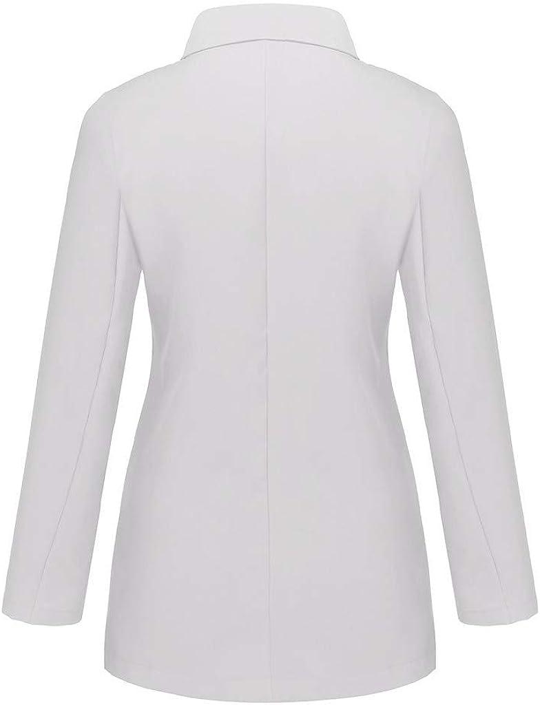 Miuye yuren Casual Blazer Ruched Long Sleeve Open Front Fit Office Cardigan Jacket Windbreaker Coats