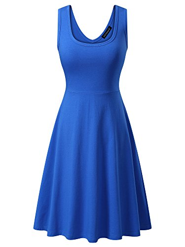 FENSACE Womens Sleeveless Scoop Neck Summer Beach Midi A Line Tank Dress, Blue, Large