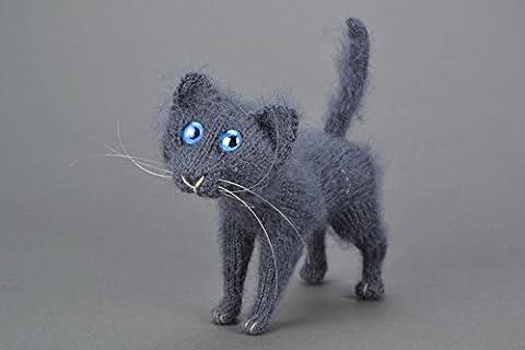 Homemade Interior Handmade Soft Crochet Toy Gray Cat Gift Idea - Homemade Crochet