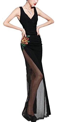 Jaycargogo Sexy Des Femmes De Broderie De Fleurs En Maille Élégante Robe De Soirée V-cou Noir Sleevelss