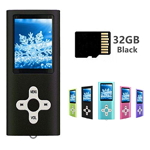 MP3 Player MP4 Player Including a 32GB Micro SD Card, Runying Portable Music Player Support up to 64GB, Mini USB Port 1.8 LCD, with Photo Viewer, E-Book Reader, Voice Recorder & FM Radio (32GB Black)