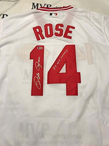 Beckett Authentic Pete Rose Autograph Throwback White Cincinnati Reds Jersey w/ 2x WS Champ ()