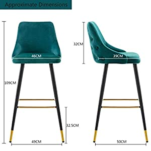 Duhome Set of 2 Bar Stools with Backrest Cyan Blue Teal Green Fabric Velvet Barstool Metal Legs Colour Selection 5170G