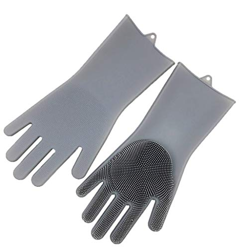 (MSOO Magic Reusable Silicone Gloves Cleaning Brush Scrubber Gloves Heat Resistant (Gray) )