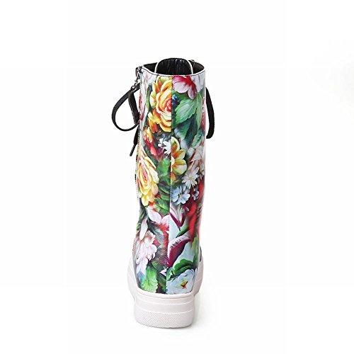 Carolbar Womens Fashion Snörning Blomtryck Komfort Populär Dragkedja Plattform Stövlar Grön