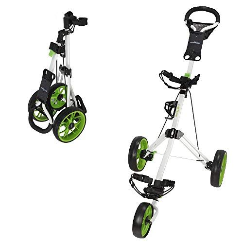Caddymatic Golf Pro Lite 3 Wheel Golf Cart White/Green
