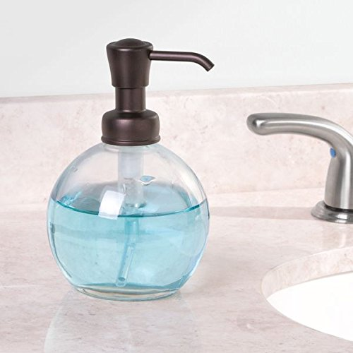 mDesign Round Glass Refillable Liquid Soap Dispenser Pump Bottle for Kitchen Sink, Bathroom Vanity Countertops, 14 Ounce, Holds Hand Lotion & Essential Oils - Pack of 2, Clear, Bronze Pump Head by mDesign