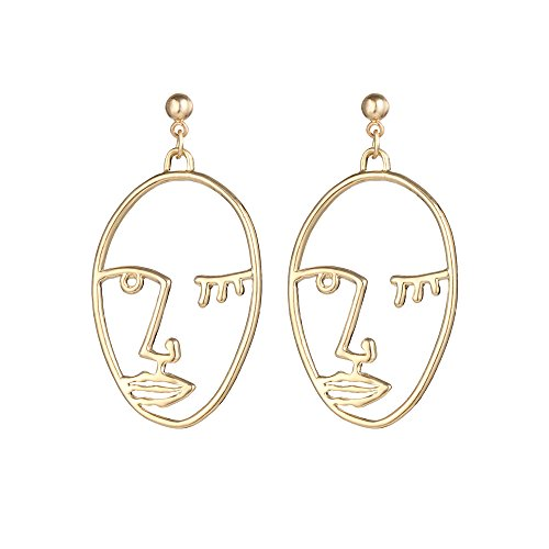 Dangling Pave Necklace (Metal Hollowed-out Gold Human Face Stereoscopic Profile Dangle Earrings Personality Fun Ear Jewelry)