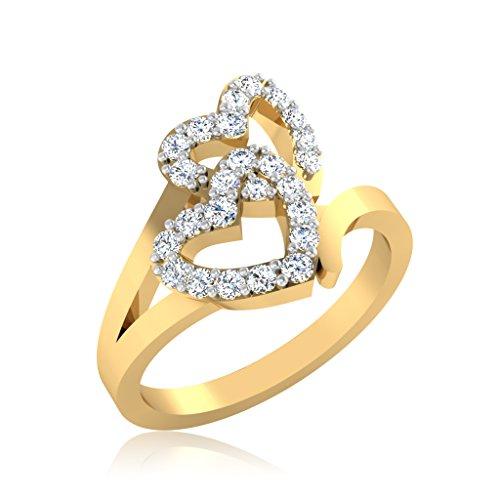 IskiUski 18KT Yellow Gold and American Diamond Ring for Women