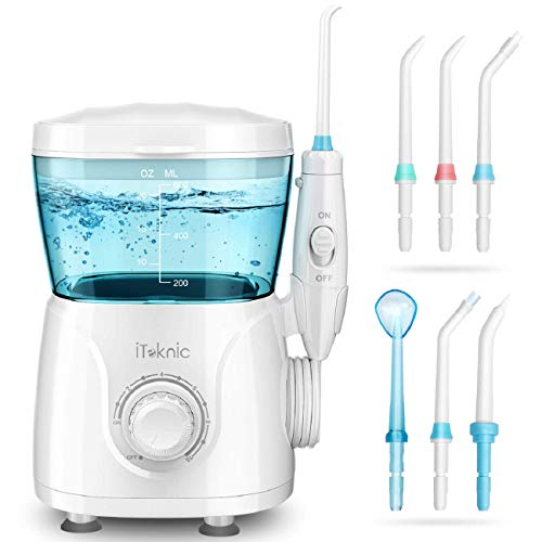 iTeknic Water Flosser Dental Oral Irrigator for Teeth Brace Clean with 10 Adjustable Water Pressure, 600ml Capacity, 7 Jet Tips, 180Sec Electric Professional Flosser for Family,FDA Approved (Best Waterpik For Braces)
