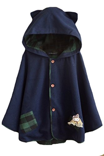 Aza Boutique Women`s Cute Button Down Tweed Cat Ears Hooded Cape Navy,One Size