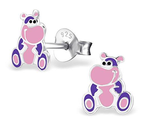 Best Wing Jewelry .925 Sterling Silver Hippopotamus/Hippo Children's Stud Earrings by Best Wing Children's Earrings (Image #2)