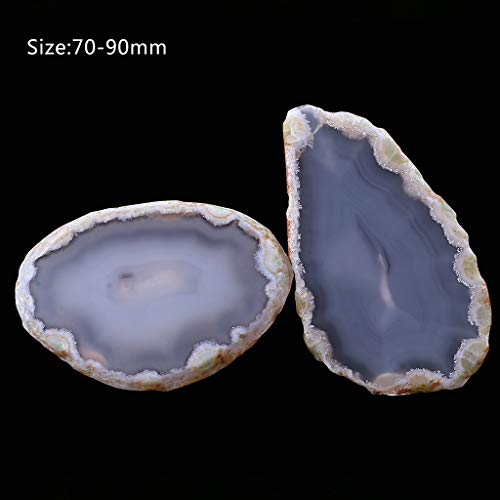 Danyerst Small Natural Carved Polished Agate Stone Slices, Decorative DIY Pendant, Healing Palm Crystal, Mineral Home Decoration, Birthday Chritsmas Graduation Gift, Memento (Primary Color 70mm-90mm) ()