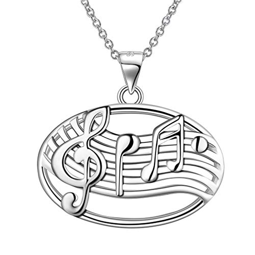(Besilver 925 Sterling Silver Music Note Necklace Women Men Filigree Sheet Treble Clef Oval Pendant Necklace Music Lover Teacher Gift Lady Boho Everyday Jewelry FP0029W)