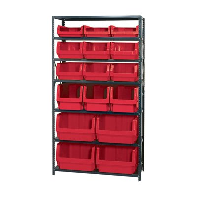 Quantum Storage Heavy Duty Magnum Bin Unit – 18in. x 42in. x 75in. Unit Size, Red