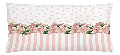 Fern Border Outdoor Rug (Dusty Rose Throw Pillow Cushion Cover by Lunarable, Vintage Retro Design with Polka Dots and Stripes Spring Flora Border, Decorative Square Accent Pillow Case, 36 X 16 Inches, Baby Pink Fern Green)