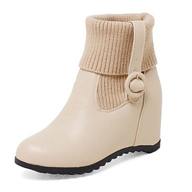 Women's Shoes Leatherette Fall Winter Fashion Boots Boots Wedge Heel Round Toe Booties/Ankle Boots Buckle For Casual Office & Career Black