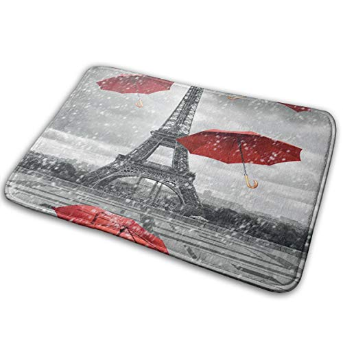 FunnyCustom Doormat Retro Cityscape Paris Eiffel Tower with Red Umbrella Personalized Non Slip Water Absorption Mats for Kitchen -