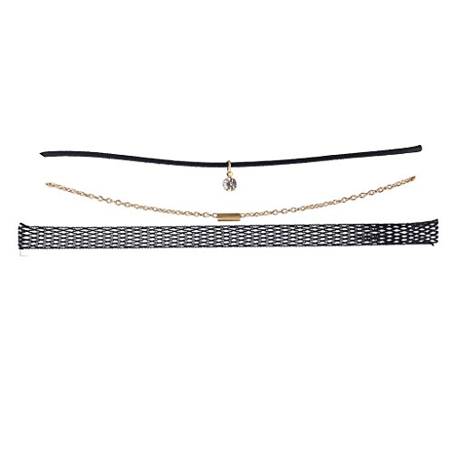 Mesh Choker (Lux Accessories Goldtone Chain Black Cord Mesh Rhinestone Choker Set 3PCS)
