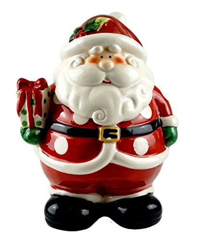 Claus Jar Santa Cookie (Santa Claus with Present Decorative Ceramic Cookie Jar)
