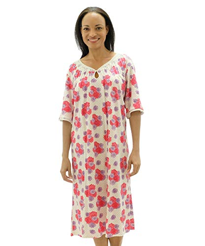 (Silvert's Womens Adaptive Hospital Gowns - Open Back Nightgown - - Pink Peony 3XL)