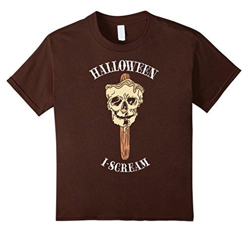 Kids Halloween Ice Cream I Scream Zombie Skull Costume Shirt Gift 10 (Scream Costume Brown)