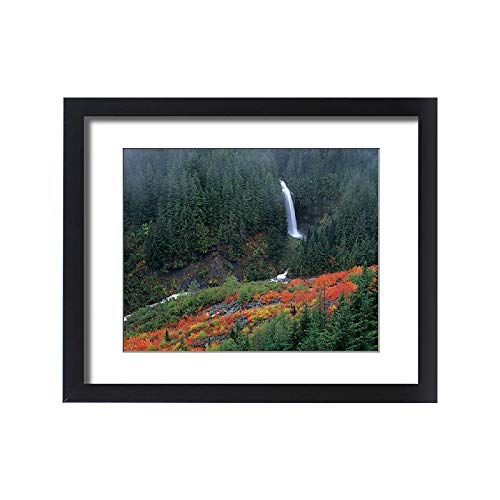 (Media Storehouse Framed 20x16 Print of WA, Mt. Rainier NP, Martha Falls with Fall Color in Stevens Canyon (11188524))